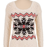 geo print pullover sweater