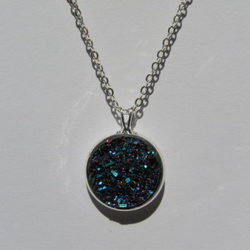 Big Blue Purple Teal Faux Druzy Pendant 16mm