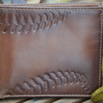 BASEBALL Embossed Leather Bifold Wallet