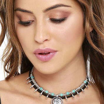 Namaste, If I May Silver and Turquoise Layered Choker Necklace