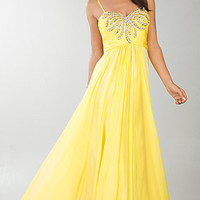 Floor Length Yellow Sweetheart Dress