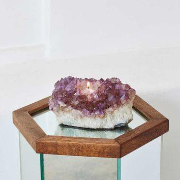 Rock Solid Amethyst Candle Holder