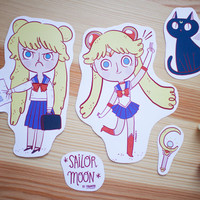 Sailor Moon - 4 illustration stickers set