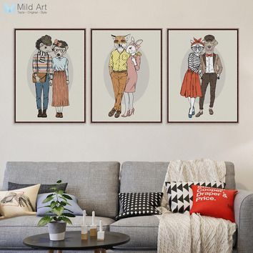 Hipster Animals Deer Lovers Couple Posters Prints Wall Art Pictures Vintage Retro Nordic Home Wedding Decoration Canvas Painting