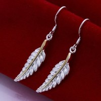 Amazon.com: DUMAN Fashion Jewelry 925 Silver Plated Earrings Feather Earrings Dangle Earrings Valentine's day, Christmas Gifts: Jewelry