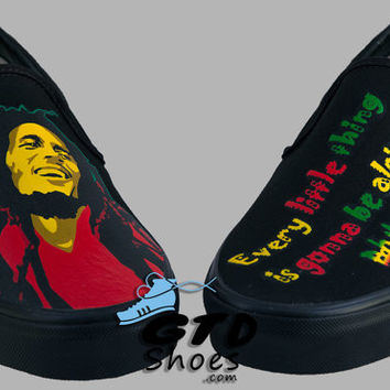 Hand Painted Vans. Bob Marley. Jamaican reggae. Robert Nesta Marley. Music. Handpainted shoes.