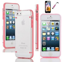 Classy Autos Hybrid Ultra Thin Transparent Crystal Clear Hard TPU Case Cover for iPhone 5 5S (Pink)