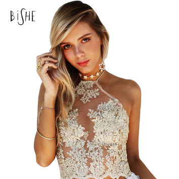 BiSHE 2017 Summer Women Lace Crop Tops Elegant Backless Sexy Gauze Camis Spaghetti Strap Short Halter Beach Cropped Tank Top
