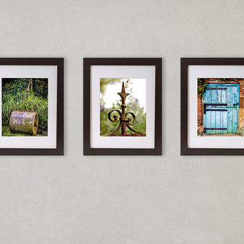 Rustic Wall Decor, Set of 3 Prints, Distressed Wood, Rusty Metal, cracked paint, Photographic Set,  Farmhouse Decor, Country Decor