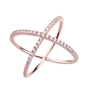 SOMEN TUNGSTEN 925 Sterling Silver Criss Cross Rings CZ Eternity Engagement Wedding Band