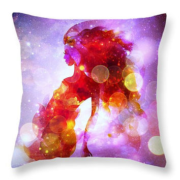 Decorative accent throw pillow, abstract contemporary modern look home decor beautiful girl, mermaid, magical artwork on pillow, purple pink