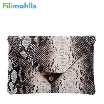 New Fashion Women's Synthetic Leather Messenger Bag  Boa Snake Skin Envelope Bag Day Clutche Purse Lady Evening Bag D42