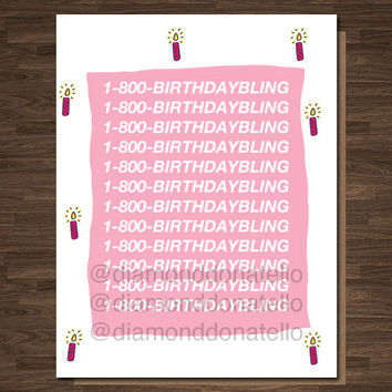 Drake Birthday Card 1-800-hotlinebling, Funny Rapper Card, rapper birthday card, Funny birthday Card