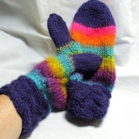 Fun And Funky Kaleidoscope Hand Knitted  Wool Mittens Braided Cuff