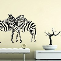 Wall Decals Zebra Embrace Love Decal Vinyl Sticker Nursery Bedroom Home Decor Living Room Interior Art Mural EG87