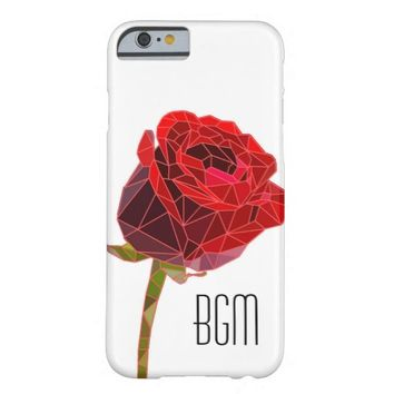 Stone Rose with Monogram Barely There iPhone 6 Case