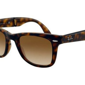 Ray Ban RB4105 Folding Wayfarer Sunglasses Light Havana Frame Cr-2