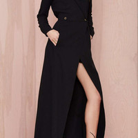 V-neck Long Sleeve Surplice Front Maxi Coat