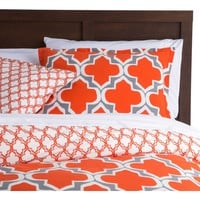 Full / Queen Orange Gray Fresh Start 3 piece Comforter Set