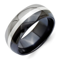 Men's Titanium Black Ti with Sterling Silver Inlay Polished Wedding Band Ring: 10