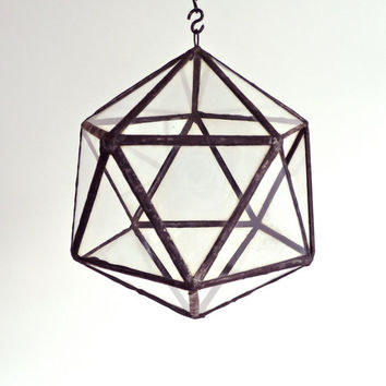 Stained glass hanging terrarium/ candle holder, icosahedron