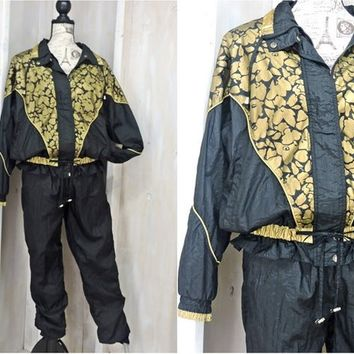 Retro 80s track suit / size S / M / 1980s Active Stuff tracksuit / black / gold windbreaker and swish pants / hip hop activewear