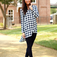 BUDDYLOVE: VANCE TUNIC TOP {WHITE PLAID}