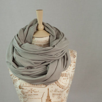 Oversized Infinity Scarf, Light Grey Infinity Scarf, Hooded Extra Wide Cowl Scarf, Extra Large Jersey Circle Shawl Scarf, Large Scarves
