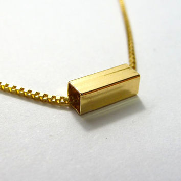 Gold square Bar Necklace, Slim Bar Necklace, Sideways Necklace, Minimalist jewelry