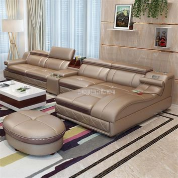 Luxury Living Room Sofa Set With Message Rotating Chair