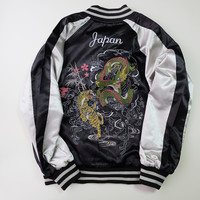Simple Black and White Tiger Dragon Ryu Sakura Chery Blossom Sukajan Souvenir Jacket