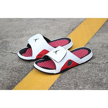 Air Jordan Hydro 13 Retro Black White Red Sandals Slides Slippers