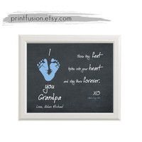 Personalized Father's day gift, Dad, Grandpa, Wall Art Decor, Baby footprints on chalkboard style,