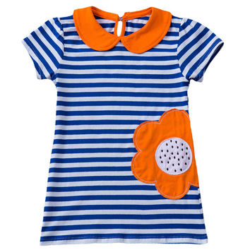 Cute Baby Kids Girls Summer fashion Short Sleeve Dress Peter pan Collar Sunflower Striped Dress Clothes kidss fashion dress
