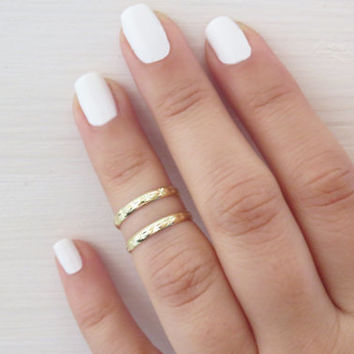 Gold ring, Stacking rings, Knuckle Rings, Goldfilled shiny bands, Set of 2 stack midi rings, Gold jewelry, Gold accessories, Birthday gift