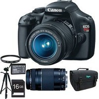 Canon EOS Rebel T3 SLR Digital Camera w/ 18-55mm & 75-300mm Ultimate Rebel Ex...