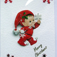 Christmas Card - Merry Christmas Hand-Crafted 3D Decoupage Card - Merry Christmas (1628)