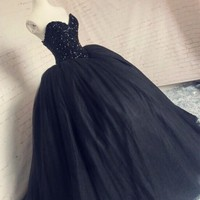 Gothic Black Wedding Dresses Ball Gown Sweetheart Bling Fully Beaded Corset Puffy Vestido De Noiva Bridal Dresses Princess