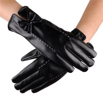 2017 Women Leater Waterproof Driving Full Finger Gloves Touch Screen Glove
