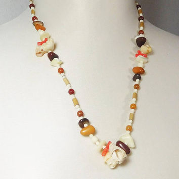 Sea Shell Necklace, Hawaiian Luau, Beach Jewelry, Lightweight, Plastic Beads, Vintage Jewelry 24 Inches Long, Real Sea Shells