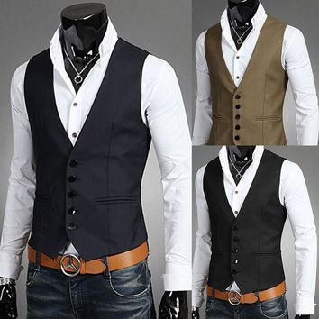 European style Men fashion Suit Vest Business Slim gentleman waiters Vest Mens Suits Blazer Black navy coffee Vest Suit For Men
