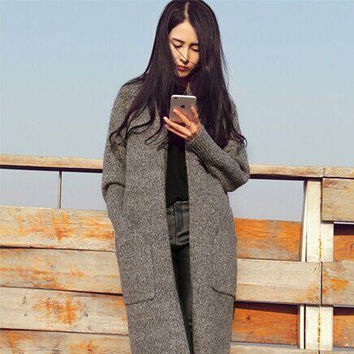 2015 Winter European and American Women's Fall Coat Thick Coat Fashion Loose Long Sweater Knit Cardigan Jacket