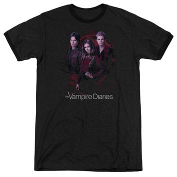 Vampire Diaries Company Of Three Black Ringer T-Shirt