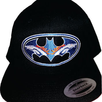 Bat Broncos embroidered hat on snapback or Flexfit 6277 hat Denver Colorado USA awesome Christmas Gift
