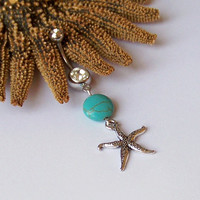 Belly Button Ring - Piercing - Curved Barbell - Navel Piercing - Starfish Tibetan Silver Pendant with Magnesite BEST SELLER