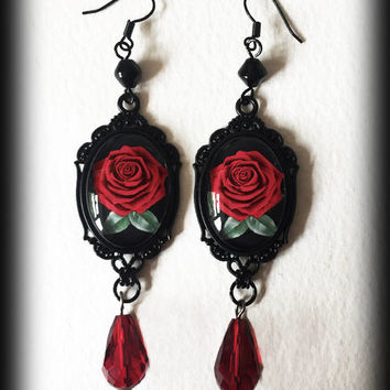 Red Rose Earrings, Gothic Victorian Earrings, Beauty and the Beast, Romantic Gothic Jewelry, Glass Cameo Earrings, Alternative Jewelry