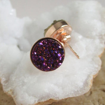 NEW Plum Druzy Studs Titanium Drusy Quartz Earrings Rose Gold Vermeil Bezel Set