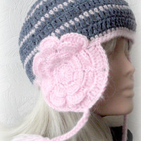 Crocheted Ear Flap Hat Teen Girl Lady With Flowers Grey Pink Teen Girl