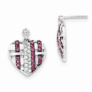 Sterling Silver with Synthetic Ruby and CZ Heart Dangle Post Earrings