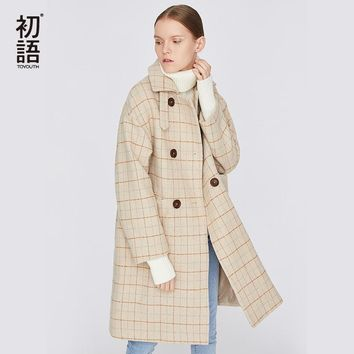 Toyouth Plaid Women Long Coat Turtleneck Double-Breasted Coats For Ladies Warm Fashion Winter Outwear Desinger Coat Abrigo Mujer
